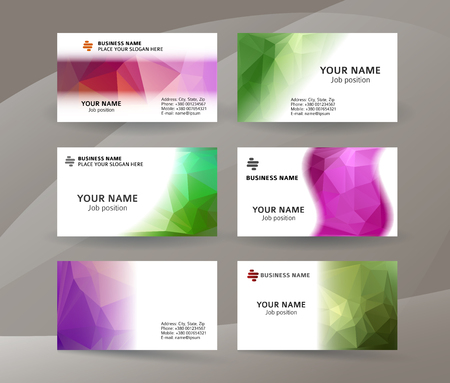 Abstract professional and designer business card one sided template or clear and minimal visiting card set, name card colors background.