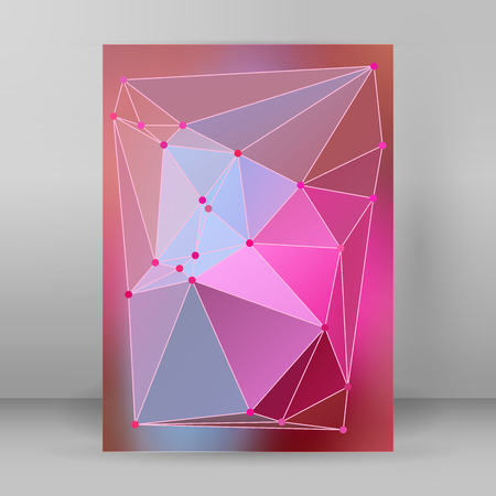 Geometric colors gradient background of bright perspective with lighting glowing triangle 3d effect crystal lattice lines & point circle. Illustration