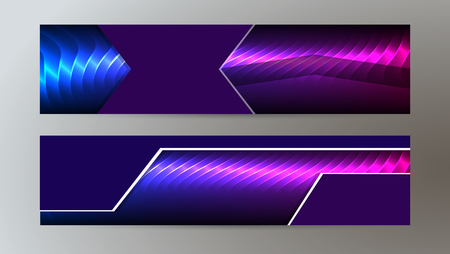 Design elements presentation template. Set horizontal banners background purple glow light effect.