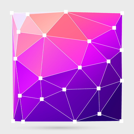 Abstract crystalline form with edge lines and vertex point. Modern triangle geometrical background.