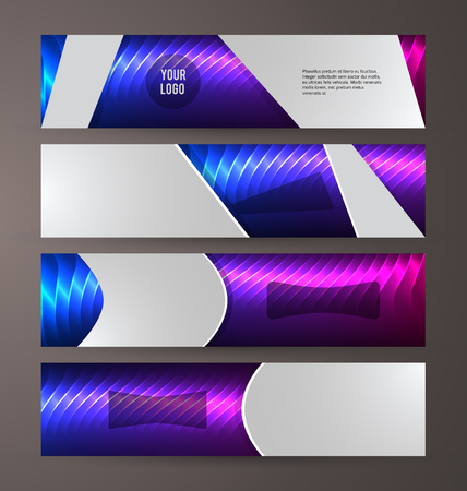 Design elements presentation template. Set horizontal banners background purple glow light.
