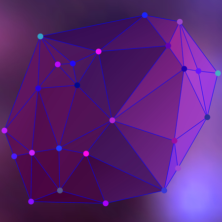 Purple polygonal image, which consist triangles. Triangular pattern for your business design. Geometric background style. Vector illustration EPS 10 crystalline form with edge lines and vertex point Illustration