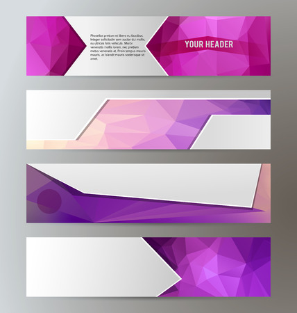 Design elements presentation template. Set horizontal banners background lilac purple glow light effect. Иллюстрация