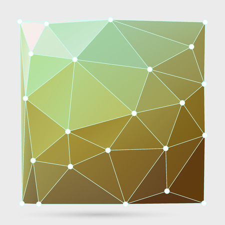 Abstract crystalline form with edge lines and vertex point. Modern triangle geometrical background in Origami style.