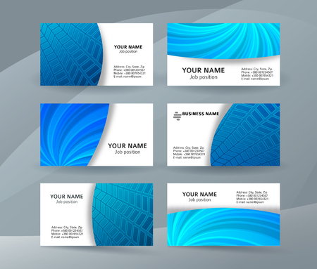 Abstract professional and designer business card one sided template or clear and minimal visiting card set, name card blue background. Illustration