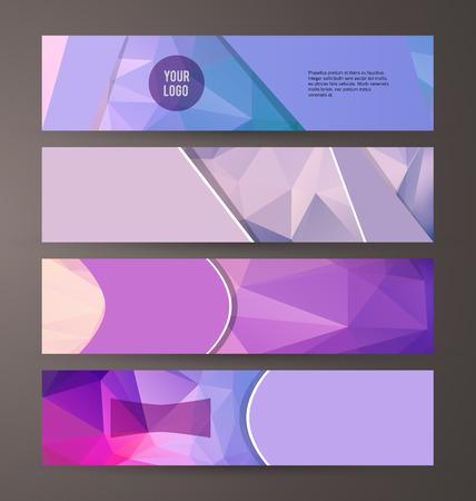 Les éléments de conception de modèle de présentation. Définition de l'effet de la lumière lueur pourpre lilas fond bannières horizontales. Vecteurs