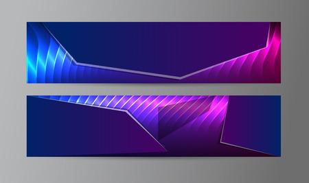 Les éléments de conception de modèle de présentation. Définition de l'effet de la lumière lueur pourpre fond bannières horizontales.