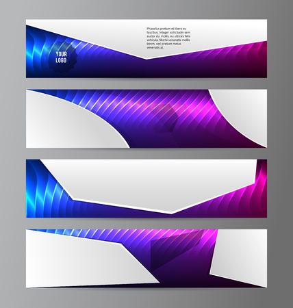 Modèle de présentation des éléments de conception. Définir les bannières horizontales fond violet lumière lueur.