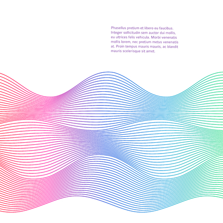 context: Design elements. Wave of many colors lines. Abstract wavy stripes on white background. Creative line art. Vector illustration EPS 10. Colourful shiny waves with lines created using Blend Tool.