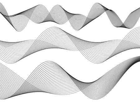 Design elements. Wave of many gray lines. Abstract wavy stripes on white background isolated. Creative line art. Vector illustration EPS 10. Colourful shiny waves with lines created using Blend Tool. Vector Illustration