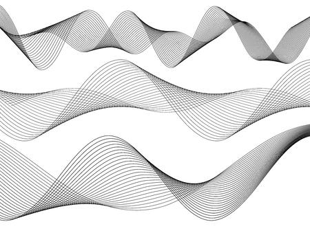 Ontwerpelementen. Golf van veel grijze lijnen. Abstracte golvende strepen op witte achtergrond geïsoleerd. Creatieve lijnkunst. Vector illustratie EPS 10. Kleurrijke glanzende golven met lijnen gemaakt met behulp van Blend Tool.