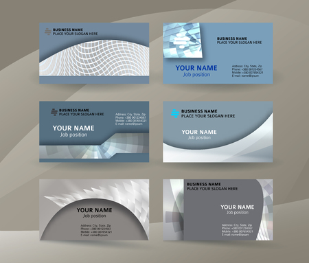 Abstract professional and designer business card one sided template or clear and minimal visiting card set, name card metallic grey background. Vector illustration EPS 10 for presentation slide banner
