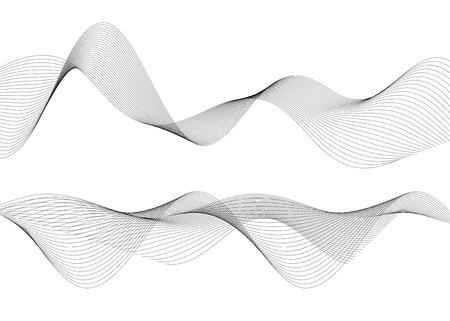 Ontwerpelementen. Golf van veel grijze lijnen. Abstracte golvende strepen op witte achtergrond geïsoleerd. Creatieve lijnkunst. Vector illustratie EPS 10. Kleurrijke glanzende golven met lijnen gemaakt met behulp van Blend Tool. Vector Illustratie