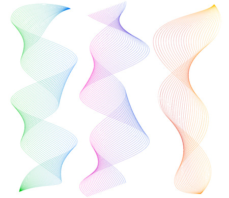Design elements. Wave of many lines. Abstract vertical wavy stripes on white background isolated. Creative line art. Vector illustration EPS 10. Colourful waves with lines created using Blend Tool Illustration