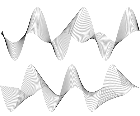 Design elements. Wave of many gray lines. Abstract wavy stripes on white background isolated. Creative line art. Vector illustration EPS 10. Colourful shiny waves with lines created using Blend Tool.