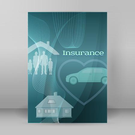 denial: Modern Design style infographic mockup. Vector illustration of different types insurance. Illustration