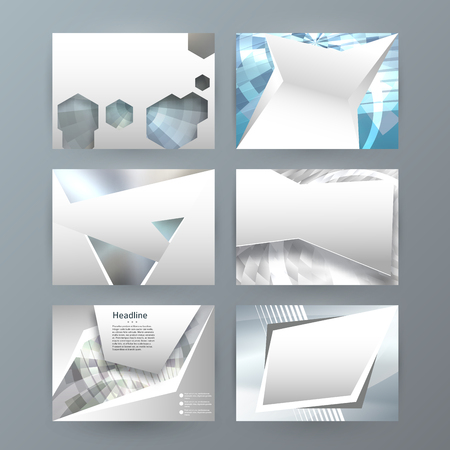 Business templates for multipurpose presentation slides. Easy editable vector layouts. Set of 6 horizontal Silver design brochure flyer, Annual report mockup graphic colors metalic grey, steel