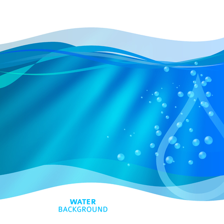 Freshness natural theme, a Fresh Water background of bright glowing blue blur with white circles Ilustração