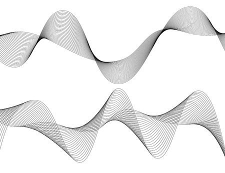 Design-Elemente. Welle von vielen grauen Linien. Abstrakte gewellte Streifen auf dem weißen Hintergrund lokalisiert. Kreative Linie Kunst. Vektor-Illustration EPS 10. Bunte glänzende Wellen mit Linien erstellt mit Blend-Tool