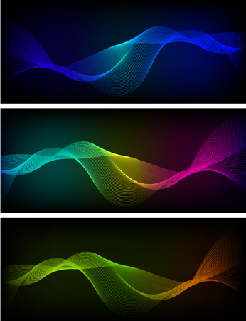 Design elements. Set banners background, business presentation template. Vector illustration horizontal web banner, backdrop glow light effect. Creative art EPS 10 for heading web site page template