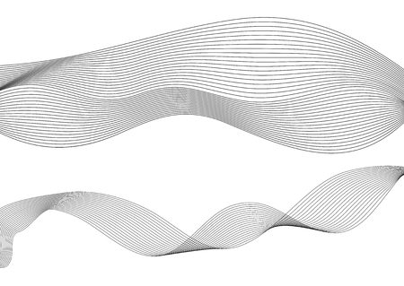 Design elements. Wave of many gray lines. Abstract wavy stripes on white background isolated. Creative line art. Vector illustration EPS 10. Colourful shiny waves with lines created using Blend Tool