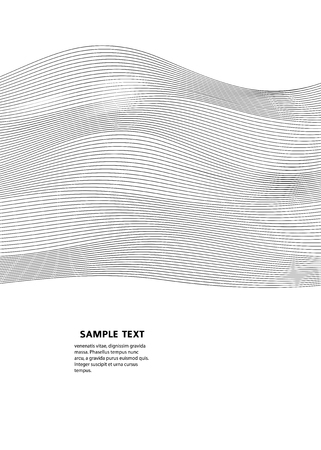 Design elements. Wave of many gray lines. Abstract wavy stripes on white background.