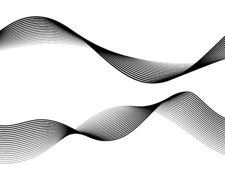 Design elements. Wave of many gray lines. Abstract wavy stripes on white background isolated.
