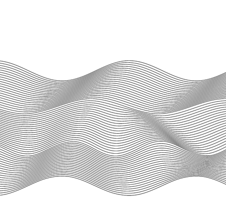 Design elements. Wave of many gray lines. Abstract wavy stripes on white background. Creative line art. Vector illustration EPS 10. Black waves with lines created using Blend Tool.  イラスト・ベクター素材