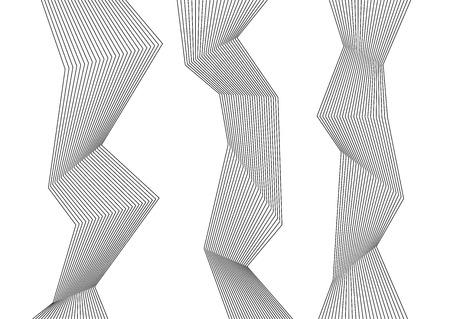 디자인 요소입니다. 구부러진 날카로운 모서리가 많은 줄무늬. 절연하는 흰색 배경에 추상 세로 깨진 된 줄무늬. 크리 에이 티브 밴드 아트입니다. 벡