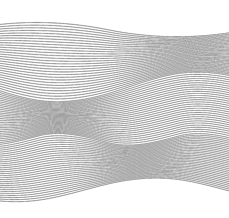 Design elements. Wave of many gray lines. Abstract wavy stripes on white background. Creative line art.