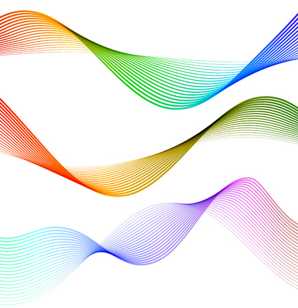 Wave of the many colored lines. Abstract wavy stripes on a white background isolated. Creative line art. Illustration