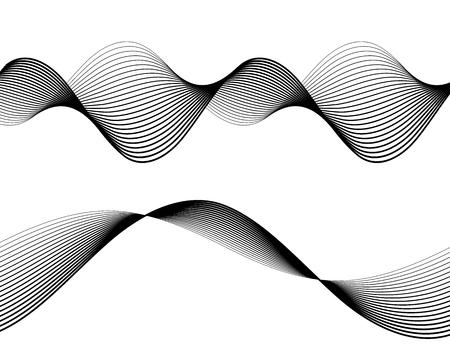 디자인 요소입니다. 많은 회색 선의 물결입니다. 절연 흰색 배경에 추상 물결 모양 줄무늬입니다. 크리 에이 티브 라인 아트입니다.