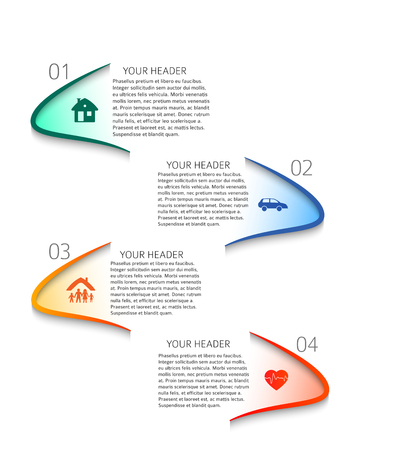 Modern design style infographic template. Illustration of different kinds of insurance. Can be used for infographics and typography, chart process the insurance company, business service steps options.