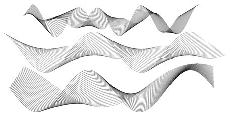 Design elements. Wave of many gray lines. Abstract wavy stripes on white background isolated. Creative line art. Vector illustration. Colourful shiny waves with lines created using Blend Tool.