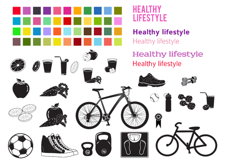 Set editable icons includes silhouette healthy food