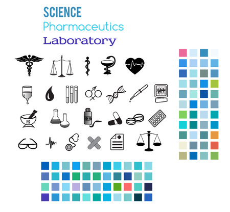 Establecer iconos editables incluye la salud de la silueta y el laboratorio médico con el tema de fondo de estilo de colores. Aislado en el fondo blanco ilustración vectorial elementos de diseño gráfico para la medicina.
