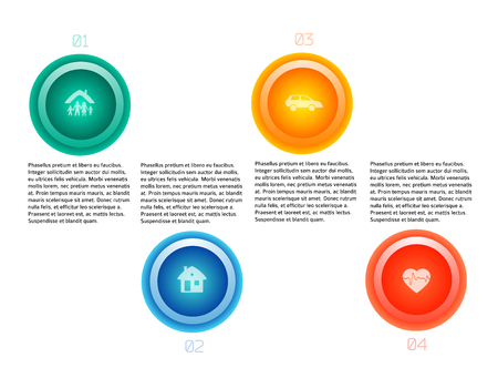 Modern design style infographic mock up vector illustration of different types insurance. Can be for options of business services steps, annual report company, fraud protection, legal defense firm.