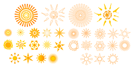 Set Editable icon - Includes silhouette Big collection of suns with colors style background theme, isolated on white background. Vector illustration eps10 Elements graphic design