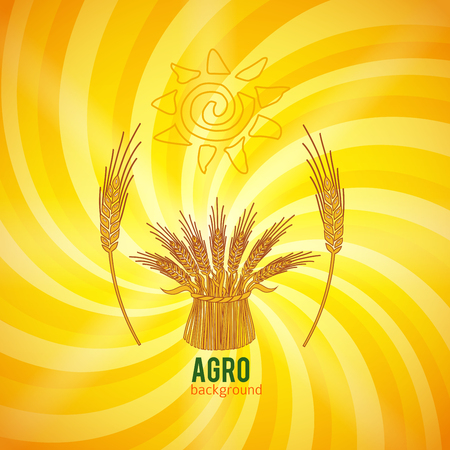 Silhouette cereal sheaf, spikes and organic agriculture theme, on Abstract spiral backdrop Illustration