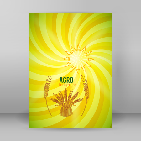 Illustration of Elements design - Includes silhouette cereal sheaf, spikes and organic agriculture theme Illustration