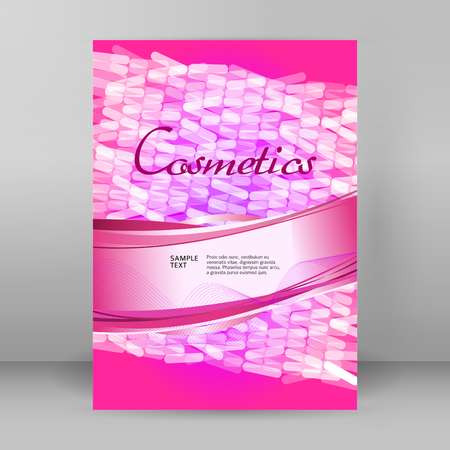 Design elements presentation template Vertical banners pink backdrop mosaic glow light effect. Illustration