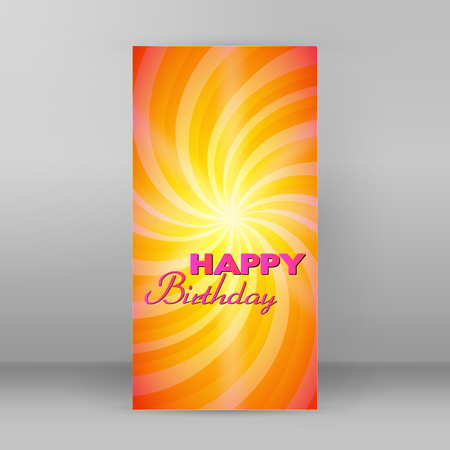Yellow swirl and magic stars for happy birthday card Vector illustration for your lovely fine design cover for page backdrop