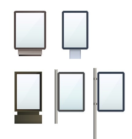 Set Outdoor light box city light advertising stand on isolated clean backdrop Design template blank Multimedia display template for designers.
