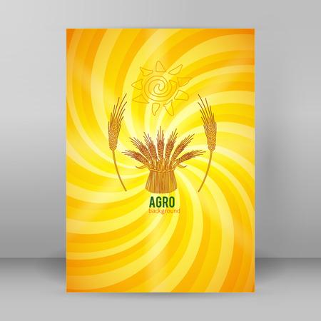Vector illustration  silhouette cereal sheaf, spica spikes Illustration