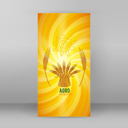 Vector illustration Elements design - Includes silhouette cereal sheaf, spica spikes