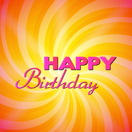 Yellow swirl & magic stars for happy birthday card. Vector illustration for your lovely fine design cover for page background, surface. Bright attractive style presentation template
