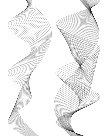 Design elements. Wave of many gray lines. Abstract vertical wavy stripes on white background isolated. Creative line art. Vector illustration. Waves with lines created using blend tool.