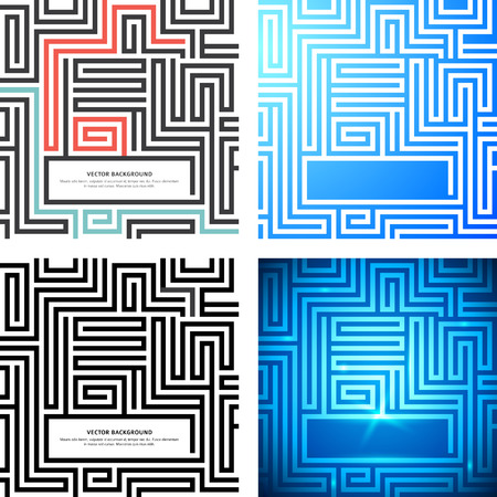 Set Maze texture vintage and place for your text isolated. Abstract Vector illustration. Concept psychology, creative problem solving, logical thinking, the study of human relations