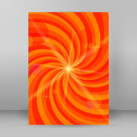 Sunny background with orange yellow rays summer sun light burst. Hot swirl with space for your message. Vector illustration for design presentation, brochure layout page, cover book and magazine