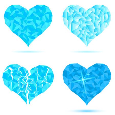 Set heart icon of snow ice crystals. Abstract triangles - polygons icy heart isolated in white background. Vector illustration eps 10